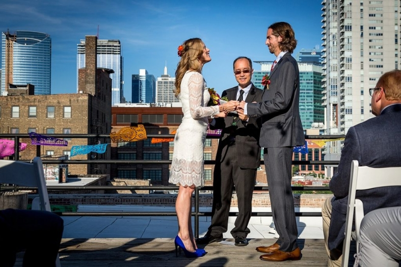 Chicago wedding in the west loop on a rooftop